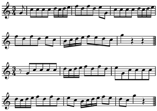 Bar-line shift's effect on metric accent: first two lines vs. second two lines[1] Play (help·info) or play with percussion marking the measures (help·info).
