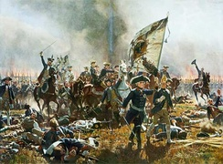 Frederick leading his troops at the Battle of Zorndorf, by Carl Röchling