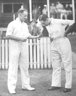 Tossing a coin is common in many sports, such as cricket, where it is used to decide which team gets the choice of bowling or batting first. Shown are Don Bradman and Gubby Allen tossing for innings.