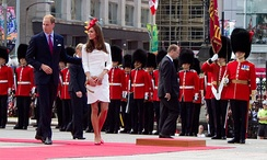 Prince William and the Duchess of Cambridge watch the inspection of the Governor General's Foot Guards during their 2011 royal tour of Canada.