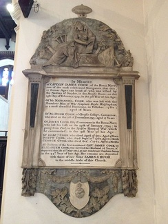Memorial to James Cook and family in St Andrew the Great, Cambridge