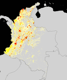 Population density of Colombia
