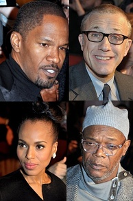 Clockwise from top left: Jamie Foxx, Christoph Waltz, Samuel L. Jackson, and Kerry Washington, in Paris at the film's French premiere, January 2013.