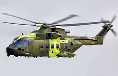 An AW101 in flight
