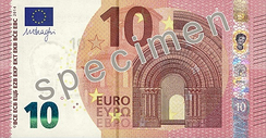 10 euro note from the new Europa series written in Latin (EURO) and Greek (ΕΥΡΩ) alphabets, but also in the Cyrillic (ЕВРО) alphabet, as a result of Bulgaria joining the European Union in 2007.