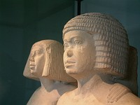 Egyptian couple wearing formal wigs of the 4th or 5th dynasties