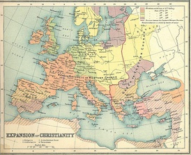 Schism of 1054 (East–West Schism) in Christianity, the predominant religion in Europe at the time[3][4]