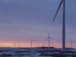 Sunrise at the Fenton Wind Farm in Minnesota, US