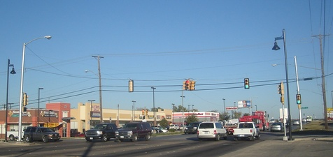 An example of a wire-mounted traffic light in Fort Worth, Texas.