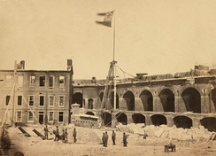 "The Confederate ""Stars and Bars"" flying from Fort Sumter"