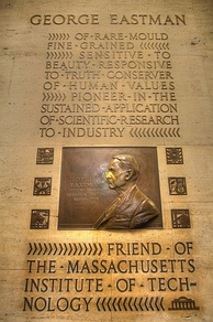 "Plaque in Building 6 honoring George Eastman, founder of Eastman Kodak, who was revealed as the anonymous ""Mr. Smith"" who helped maintain MIT's independence"