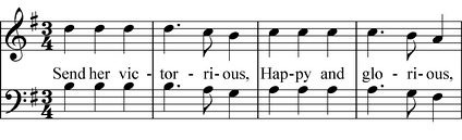 "Melodic sequence on the lines ""Send her victorious,"" and ""Happy and glorious,"" from ""God Save the Queen""  Play (help·info)"