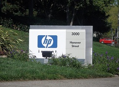 A sign marking the entrance to the HP corporate headquarters in Palo Alto, California, 2006