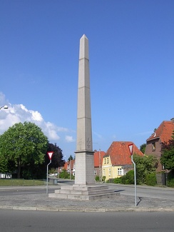 Obelisk commemorating the Huguenots in Fredericia, Denmark