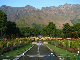 Beautiful Nishar Bagh Mughal Gardens and its twelve descending terraces of water and flowers.