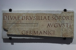 Inscription found at Caere (Etruria), dedicated to deified Drusilla, sister of Caius Augustus, whose name is canceled. CIL XI, 3598