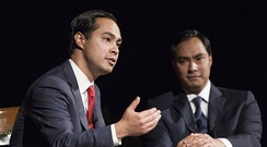 Julian Castro and his twin brother Representative Joaquin Castro at the LBJ Presidential Library.