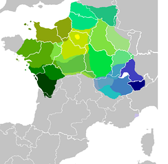 Distribution of the modern langue d'oïl (shades of green) and of Franco-Provençal dialects (shades of blue)