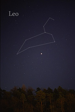 The constellation of Leo as it can be seen by the naked eye. Lines have been added.