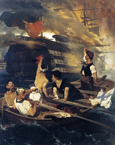 """The destruction of the Ottoman flagship by Kanaris"" by Nikiphoros Lytras."