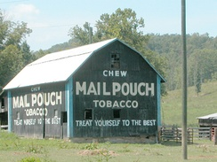 Mail Pouch Barn advertisement: a bit of Americana in southern Ohio. Mail Pouch painted the barns for free.
