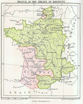 France after the Treaty of Brétigny: French territory in green, English territory in pink