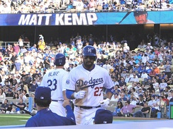 Kemp returns to the dugout after hitting a home run on May 22, 2010