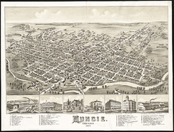 Illustration of Muncie, looking southeast in 1884