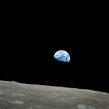 Earthrise from the Moon during Apollo 8 mission, 1968.