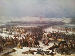 Napoleon's retreat from Russia in 1812. His Grande Armée had lost about half a million men.