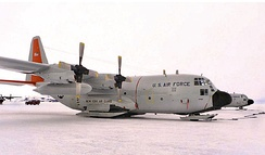 LC-130Hs equipped with landing skis, operated by the 139th Airlift Squadron, 109th Airlift Wing, New York Air National Guard, parked on the ice pack at McMurdo Station at Ross Island in Antarctica during Operation Deep Freeze 2001. The unit operates six LC-130s between Christchurch, New Zealand, and a number of U.S. National Science Foundation stations located on the Antarctic ice pack, 5 November 2001. (Photographer: MSgt Joe Cupido. Air Force Photo.)