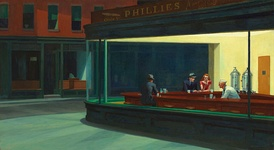 Nighthawks (1942) by Edward Hopper is one of his best-known works, Art Institute of Chicago.