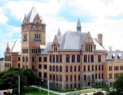 Old Main, a historic building at Wayne State University, originally built as Detroit Central High School