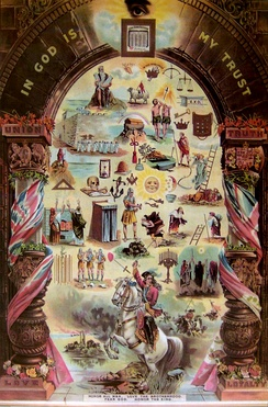 Orange Order poster depicting historical and religious symbols