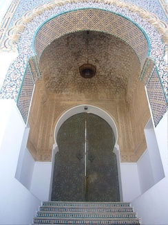 Entrance of Sidi Boumediene Mosque in Tlemcen, Algeria, built to honor the 12th-century Sufi master Abu Madyan