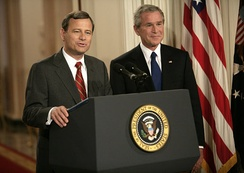 Supreme Court Justice nominee John Roberts and President Bush, July 19, 2005