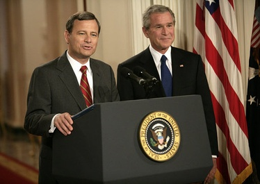 John Roberts, now Chief Justice, is pictured here with President Bush at the announcement of his first nomination on July 19, 2005.
