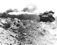 An M4A3R3 USMC tank during the Battle of Iwo Jima (March 1945)