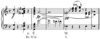 Modulation between relative keys, C minor and E♭ major, using a common tone, G, in Schubert's Op. 163 (D. 956).[11] Play (help·info)