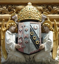 The arms used by George Augustus Selwyn as Bishop of Lichfield, above the college's Main Gate to Old Court