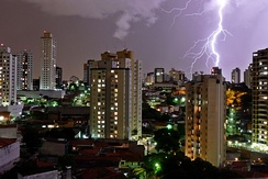 Heavy rain and lightning in São Paulo, which has the largest number of lightning incidents amongst Brazilian state capitals.[41]