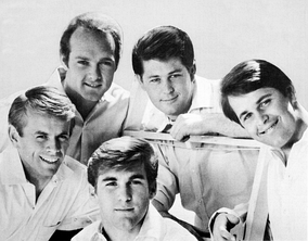 "The Beach Boys in a promotional shot used for their 1964 single ""I Get Around"""