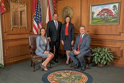 DeSantis with Attorney General Ashley Moody, Chief Finance Officer Jimmy Patronis, and Agriculture Commissioner Nikki Fried in 2019