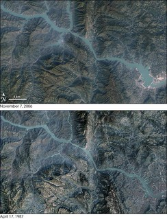 Satellite map showing areas flooded by the Three Gorges reservoir. Compare November 7, 2006 (above) with April 17, 1987 (below)