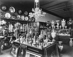 Tiffany & Company, Union Square, storage area with porcelain, c. 1887