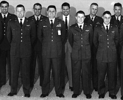USAF Experimental Flight Test School Class 56D. Front row: Captains Gordon Cooper, James Wood, Jack Mayo and Gus Grissom.