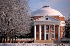 The University of Virginia, founded by Thomas Jefferson in 1819, is one of the many public universities in the United States. Universal government-funded education exists in the United States, while there are also many privately funded institutions.