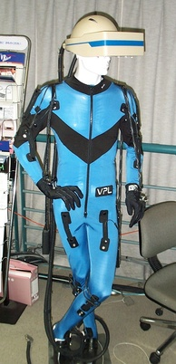 A VPL Research DataSuit, a full-body outfit with sensors for measuring the movement of arms, legs, and trunk. Developed circa 1989. Displayed at the Nissho Iwai showroom in Tokyo