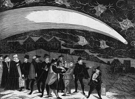 The Great Comet of 1577, depicted in a woodcut, over Prague