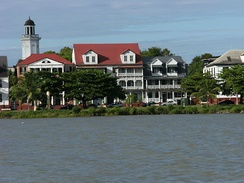 The Dutch colonial houses in the historic center of Paramaribo, Suriname.
